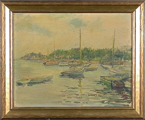 "1674: Grace Young oil,board  Maine, 10 3/4"" X 13 1/2"""