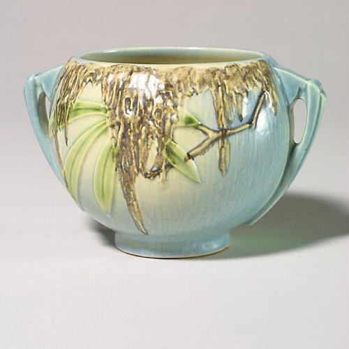 "0001: Roseville Moss vase, blue, 289-4"", impr"