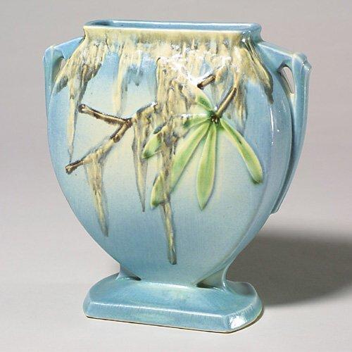 0002: Roseville Moss pillow vase, blue, 781-8