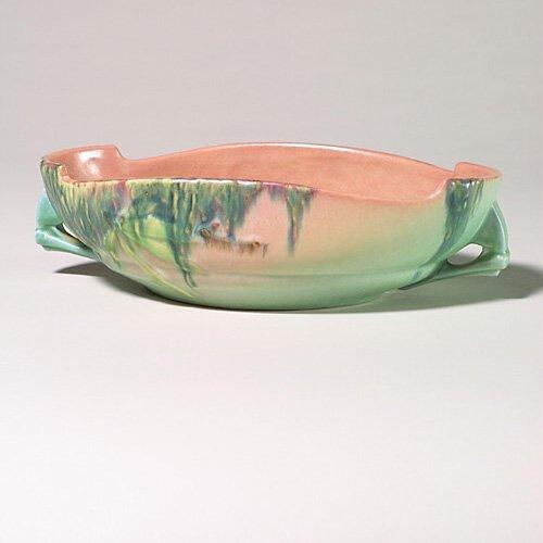 0004: Roseville Moss bowl, pink, 293-10, 3 1/