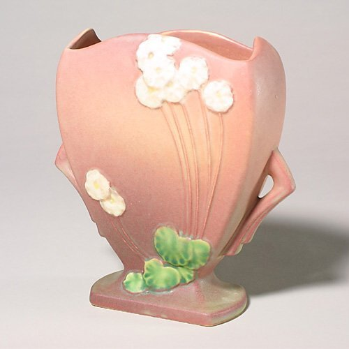 0005: Roseville Primrose vase, pink, 765-8, i