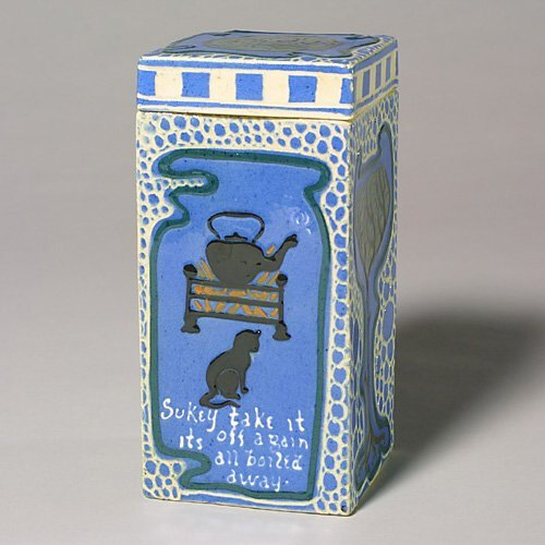 0024: Roseville or Avon Faience tea caddy by