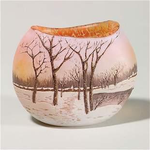 "Legras cameo vase, winter landscape, 4 1/4"""