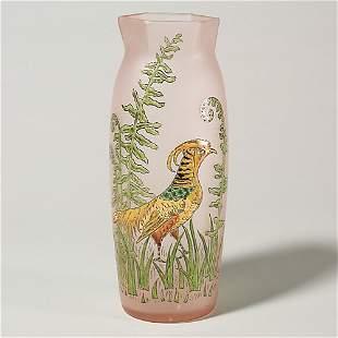 "Legras golden pheasant vase, 11 7/8"", signed"