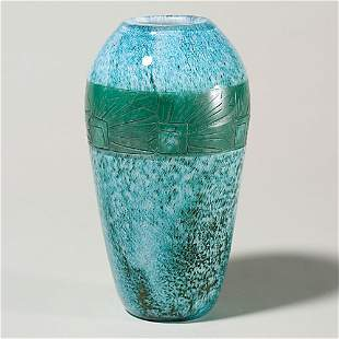 "Legras cameo vase, stylized floral, 8 3/8"""