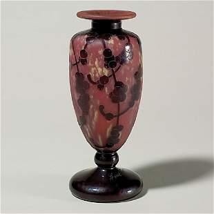 """LeVerre Francais 9 1/4"""" vase, berries, signed"""