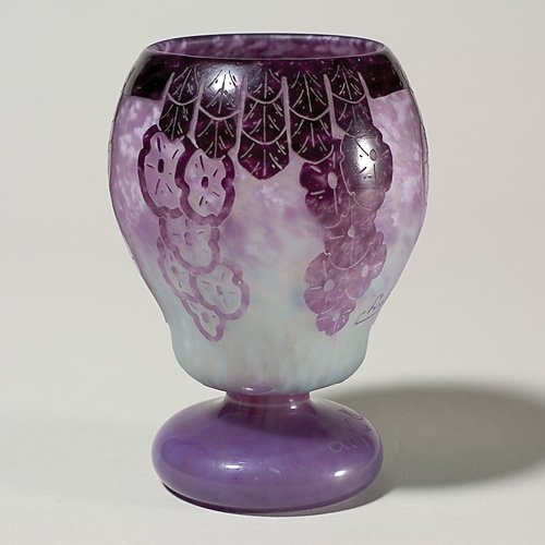 1207: LeVerre Francais Charder footed vase, 6 3/8""