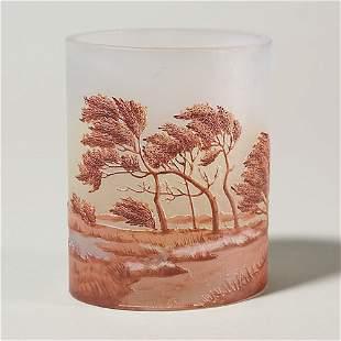 "Thouvenin cameo scenic 4 1/2"" vase, trees"