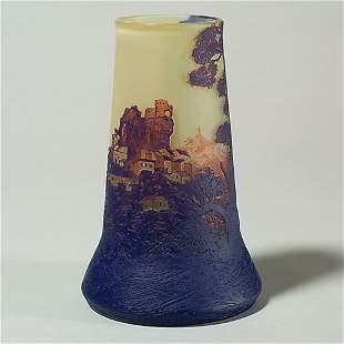 "deVez cameo vase, castle scene, 7 1/2"""
