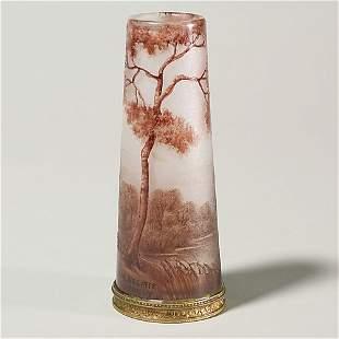 """A. Delatte Nancy cameo scenic vase, 6""""."""