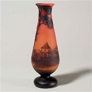 Richard cameo vase, coastal scene, signed, 11 3/4