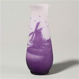 "Arsall cameo vase, windmill landscape, 8 1/8"""