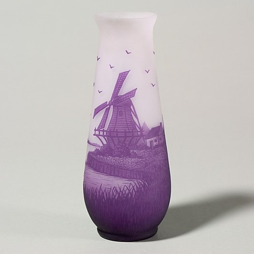 1218: Arsall cameo vase, windmill landscape, 8 1/8""