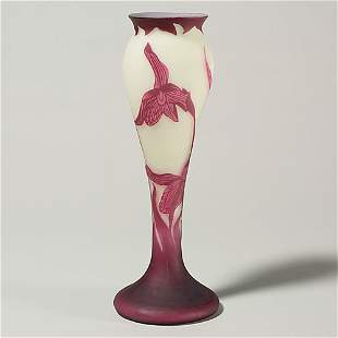 """Richard cameo vase, orchids, signed, 11 5/8"""""""