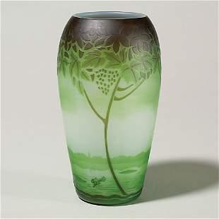 "St. Louis cameo vase, lakeside scene, 6 3/4"""