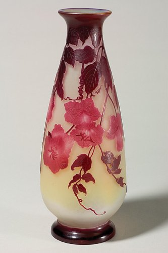 "1223: Galle cameo vase, 13 1/2"", floral, pattern chips"