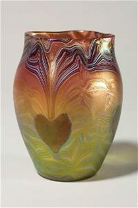"""1272: Loetz vase, heart leaves, rubina verde,  5 1/2"""""""