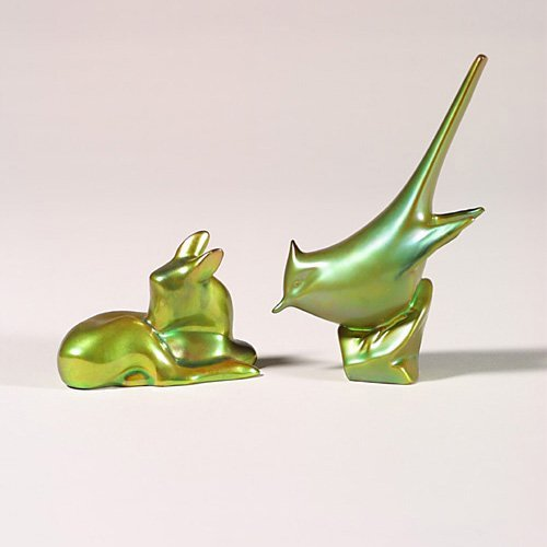 0502: Two Zsolnay animals, green jay + green