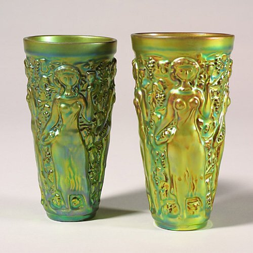 0504: Two Zsolnay Eosin  tumblers, green, mai