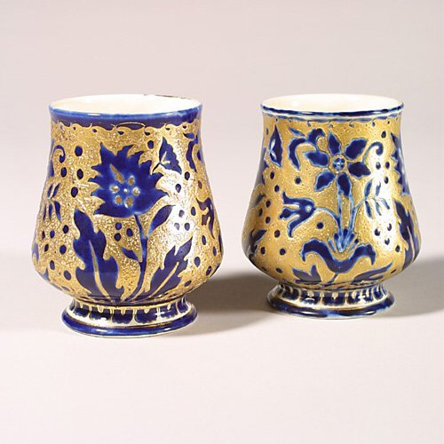 0506: Pair of Zsolnay vases, blue & gold, ca