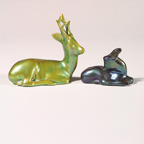 0507: Two Zsolnay animals, blue fawn + green