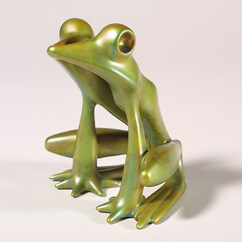 0510: Zsolnay modern frog, Eosin green, Judit