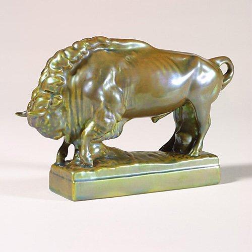 """0515: Zsolnay Eosin bison, blue-green, 6"""""""