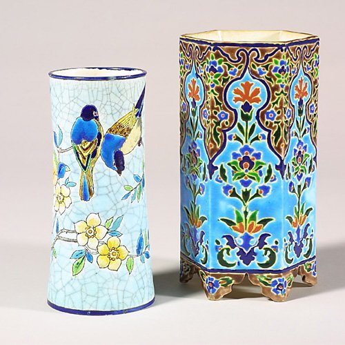 """0518: Two Longwy  vases, floral, 8""""  and bird"""