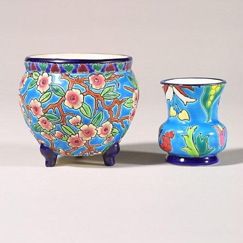 """0519: TwoLongwy items, jard, floral, 3 7/8"""" r"""