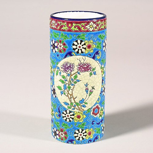 "0523: Longwy round vase, 7 1/4"" rim repair an"