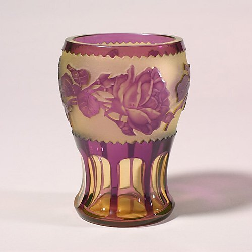 1100: Bohemian ovrlay vase, ruby/yellow, came