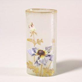 "1103: Mt. Joye rectangular vase, poppies, 6"","