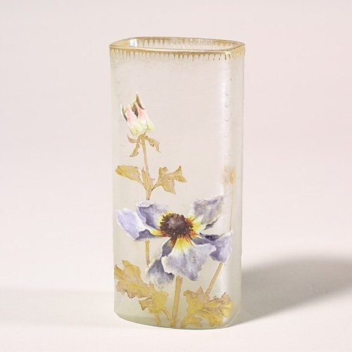 "1103: Mt. Joye rectangular vase, poppies, 6"","