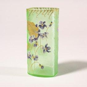 1104: Mt Joye vase violets,gilding & enamel l