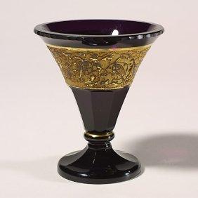 1111: Moser vase, birds,unsigned, interior sc