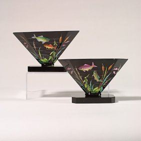 "Pr. Moser Flared Vases,  Fish, 5"", Base"