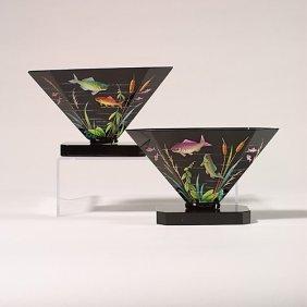 """1116: Pr. Moser flared vases,  fish, 5"""", base"""