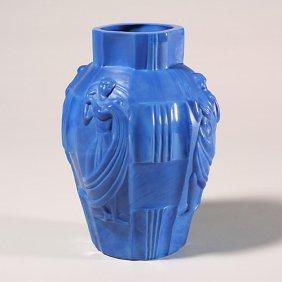 """1120: Bohemian lapis blue vase, Schlevogt """"In"""