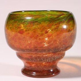 """1122: French glass vase, green & orange, 6"""","""