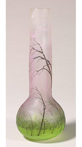 """1154: Signed Daum Nancy """"Rain"""" vase, 11 3/4""""T"""