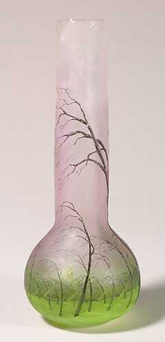 "1154: Signed Daum Nancy ""Rain"" vase, 11 3/4""T"