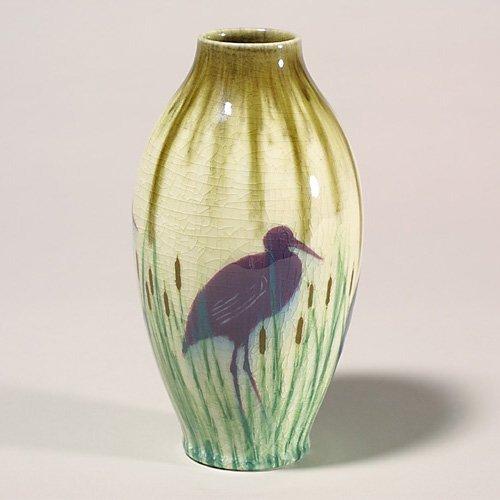 1423: Rookwood stork vase, Hurley, 1943, 6858