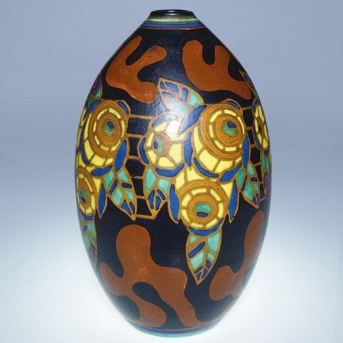 """3: Boch Freres Matt Enamel vase, Lambillotte, 12"""""""