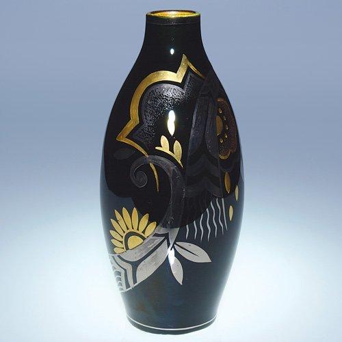 4: Boch Freres vase, D 1780, black, gold, silver, 10 1/