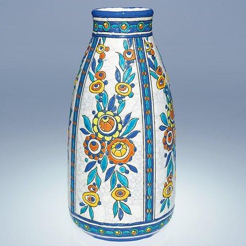 """5: Boch Freres Crackled Enamel vase, 11 5/8"""""""