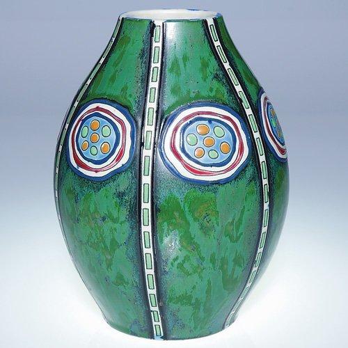 "8: Boch Freres Gres Keramis vase, Dufrene, 9"""