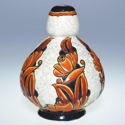 """12: Boch Freres Crackled Enamel vase, 6 1/4"""""""