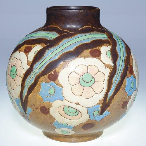 """15: Boch Freres Gres Keramis vase, floral, 8 1/4"""""""