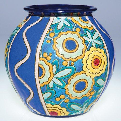 """18: Boch Freres Crackled Enamel vase, floral, 6 1/2"""""""