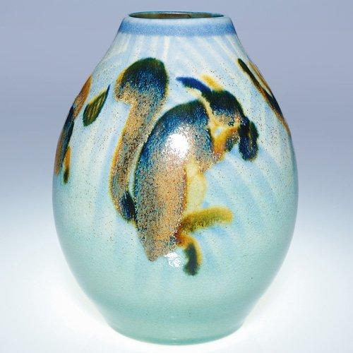 """21: Boch Freres Gres Keramis vase, squirrels, 8 5/8"""""""